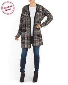 Wool Blend Long Sleeve Open Cardigan