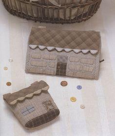 PDF patrón de casa costura caja del Kit con moneda monedero bolsa de algodón de fieltro coser edredón apliques patchwork arte regalo