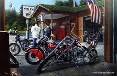 A father and son stand outside the bike shop next to their Harleys enjoying the day. Look at the great patriotic paint job. This print is signed and numbered with a Certificate of Authenticity and is
