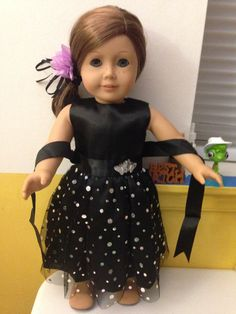American Girl Doll Dress/Black dress for by Familycraftsshop Sewing Doll Clothes, Sewing Dolls, Ag Dolls, Girl Doll Clothes, Girl Dolls, Flower Girl Dresses, Doll Dresses, Party Dresses, Girls Pajamas