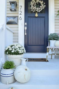 Front door color ideas for tan house nesting with grace navy front door ideas exterior color . Door Paint Colors, Exterior Paint Colors For House, Front Door Colors, Paint Colors For Home, Front Door Decor, Beige House Exterior, Siding Colors, Door Entry, Entryway