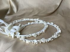 traditional style stefana with porcelain flowers, rhinestones and pearl accents   Orthodox wedding crowns stephana for the Greek Orthodox marriage sacrament