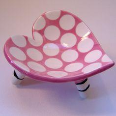 P๏lka D๏ts~ceramic heart dish  pink polkadots with striped legs.