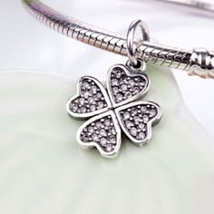 Original 925 Sterling Silver Four Leaf Clover,Heart,Crown,Crystal Dangle Charms Fit Pandora Bracelet Pendant Jewelry Accessories