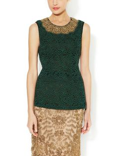 Guipure Lace Shell with Embellished Neck by Vera Wang at Gilt
