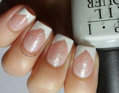 Chevron French with glitter