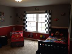 Owenu0027s Cars Themed Room Ikea Spice Racks Painted Black For Book Shelves  Checkered Flags Turned Into Curtains Cars Tent (toys R Us) Mater Pillow Pal  Little ...
