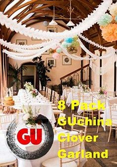 GUchina 8Pcs 3.6M Clover Tissue Paper Garland Tissue Paper Flowers Hanging Crafts Garland-Perfect for Wedding Decor Party Décor 12-feet Long Set of 8pcs Each One Come with String (8white)