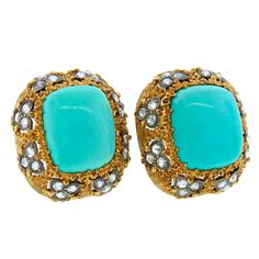 1960s MARIO BUCCELLATI Turquoise Diamond & Yellow Gold Earrings | From a unique collection of vintage clip-on earrings at http://www.1stdibs.com/jewelry/earrings/clip-on-earrings/