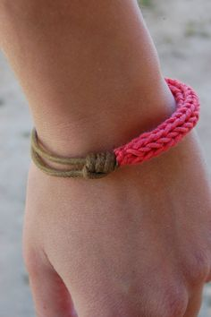 Spool knitted pink bracelet