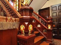 Light in staircase post | 1885 – Dorchester Center, MA – $899,000 | Old House Dreams