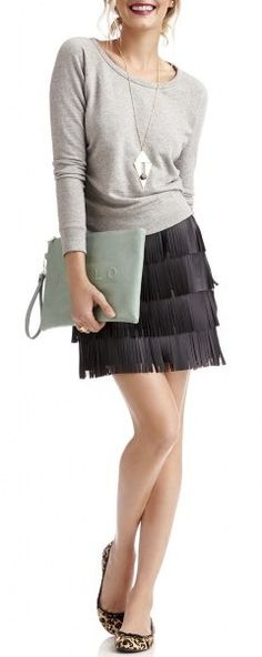 Fringed Skirt + Leopard Print Flats
