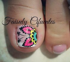 Uñas Cute Toe Nails, Love Nails, Pretty Nails, Cute Pedicure Designs, Toe Nail Designs, Pedicure Nail Art, Toe Nail Art, Pretty Pedicures, Disney Nails