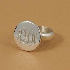 Silver Monogram Ring Round~