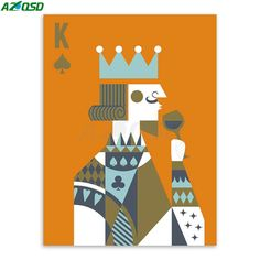 Hipster Home Decor   AZQSD Art Print Poster Poker King Queen Couple Hipster Abstract Wall Picture Canvas Painting No Frame Bedroon Home Decor PP064