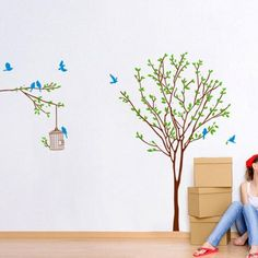 2017 New DIY Branch Birdcage Tree Removable Mural Wall Stickers Wall Decal Room Home Decor Stick Wallpaper Modern Design
