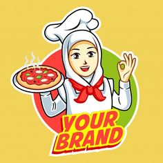 Pizza logo with beautiful woman chef wit... | Premium Vector #Freepik #vector #logo #hand #woman #pizza Logo Pizza, Logos, Logo Branding, Pizza Background, Round Logo Design, Pizza Vector, Pizza Chef, Bakery Logo Design, Logo Sticker