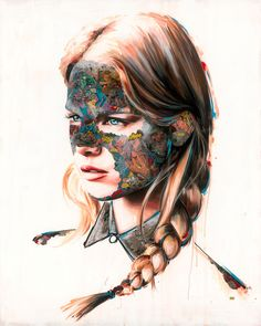 """Montreal-based artist Sandra Chevrier creates vibrant mixed media artworks by adding comic book collages to watercolored portraits.  """"Her work takes her traveling over a broad range of fluctuating emotional enigmas and concepts that have set the standard of our modern communication. Working in a home studio, Sandra produces her work at a full-time scale, aggressively pursuing a common thread until it is worn away, leaving her to begin on a new path.  She exposes the limitations within ou..."""