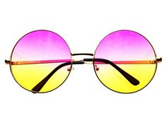 Pink Yellow Lens Large Oversized Metal Circle Round Sunglasses R1802 – FREYRS - Beautifully designed, cheap sunglasses for men & women