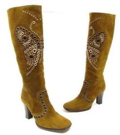 Anthropologie-RARE-Studded-grommet-butterfly-boots-leather-suede-9-39-vero-cuoio