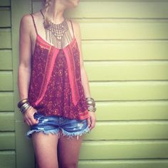 Tank and Fringe Necklace >> Made for each other! on Free People