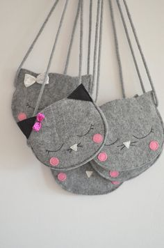 Cat Bag Mini Grey childrens bag kids bag by SewManUniverseMaster