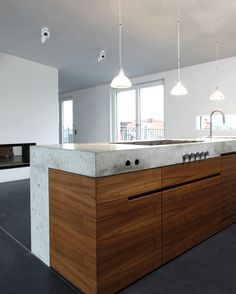 Wood concrete counter: best ideas about reclaimed wood c Concrete Kitchen, Concrete Counter, Concrete Wood, Wooden Kitchen, Wood Counter, Home Decor Kitchen, Kitchen Living, New Kitchen, Home Kitchens