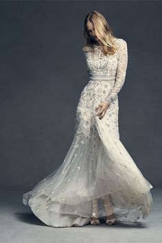 Obsessed with this embellished A-line wedding gown.