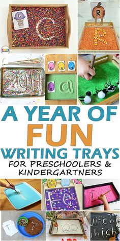 A Year of Fun Writing Trays for Preschoolers – HAPPY TODDLER PLAYTIME Here is an amazing list of 25 fun and engaging writing tray ideas. More than enough trays to keep your preschooler or kindergartner writing all year long! Writing Center Preschool, Preschool Centers, Preschool Literacy, Literacy Activities, Toddler Activities, Writing Activities For Preschoolers, Emergent Literacy, Teach Preschool, Literacy Stations