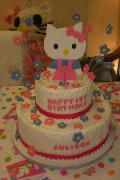 Cake at a Hello Kitty Party #hellokitty #party