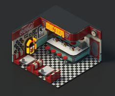 Voxel scene of a Diner Vintage Diner, Vintage Hotels, 1950s Diner, Isometric Art, Isometric Design, Miniature Furniture, Dollhouse Furniture, Arte Gcse, Mini Cafe