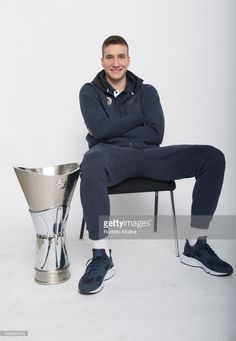 Bogdan Bogdanovic, #13 of Fenerbahce pose with Trophy duringTurkish Airlines EuroLeague Basketball Final Four Istanbul 2017 Champion Photo Session at Sinan Erdem Dome on May 21, 2017 in Istanbul, Turkey.