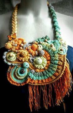 Knitted necklace 'Butterfly' For Her  Gift idea  by ElManyEl