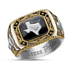Show your pride in the Lone Star state with this handsome diamond ring boasting bold Texas icons and an engraved band.