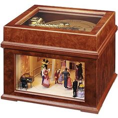 """This beautifully handcrafted wooden music box contains dancing figurines that pirouette elegantly around a classic ballroom dance floor. A soft back light shines down on the figures as they merrily spin while real """"music-box"""" music plays. Antique Music Box, Vintage Music Boxes, Music Box Ballerina, Wooden Music Box, Music Jewelry, Pretty Box, Diy Box, Casket, Trinket Boxes"""