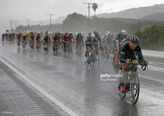 Oscar Clark of the United States riding for Hincapie Racing Team drives the peloton in the rain late in the race to defend the overall race leader jersey for his teammate Toms Skujins of Latvia riding for Hincapie Racing Team during stage five of the 2015 Amgen Tour of California from Santa Barbara to Santa Clarita on May 14, 2015 in Santa Clarita, California.