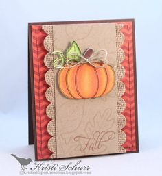 Fall Autumn Card Pumpkin Fall Card by KristisPaperCreation on Etsy