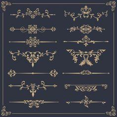 Elegant ornamental collection Free Vector Fuente Art Deco, Rune Tattoo, Pinstriping Designs, Flowery Wallpaper, Logo Design, Graphic Design, Turkish Art, Machine Embroidery Patterns, Vintage Labels