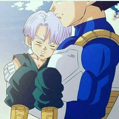 Vegeta cradles his son Trunks