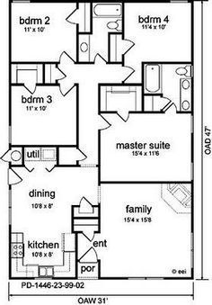 Traditional Style House Plan 89914 with 3 Bed, 2 Bath - Traditional House Plan 89914 Level One - Four Bedroom House Plans, Family House Plans, Bedroom Floor Plans, Best House Plans, Dream House Plans, Modern House Plans, 4 Bedroom House Designs, The Plan, How To Plan