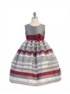 Girls' Grey Burgundy Flower Girl Party Dress  #canadaonline #fashion #fashionstyle #instalikes #fashionista #kidsclothes #Oasislync #clothes #canada #onlinestore