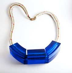 Cobalt Squared Lucite Tube on Rope Necklace