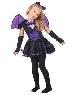 Déguisement chauve-souris fille : Ce déguisement de chauve-souris pour fille se compose d'une robe, d'un serre-tête, d'une paire d'ailes et de manchettes (collants et chaussures non inclus). La robe noire...