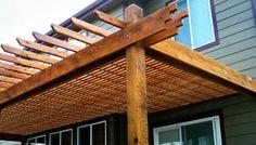 Rough cedar pergola attached to a home in Denver Cedar Pergola, Landscape Services, Backyard, Patio, My Dream Home, The Great Outdoors, Denver, Outdoor Structures, Snow