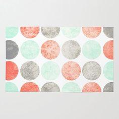 Society6 Circles (Mint, Coral & Gray) Rug 4' x 6'
