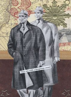 Quirky Birthday Card With 1930s Guys Brown and Gold   - They Ain't Too Pretty - pinned by pin4etsy.com
