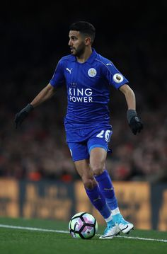 Riyad Mahrez of Leicester in action during the Premier League match between Arsenal and Leicester City at Emirates Stadium on April 26, 2017 in London, England.