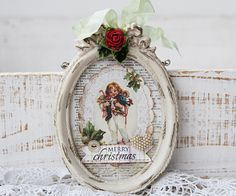 painted small frames with vintage christmas scenes for ornaments