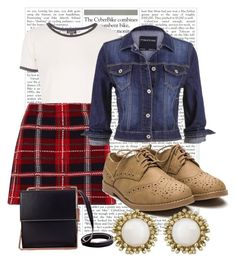 Old School Classics : Plaid Mini Skirt + Suede Oxfords by elliebowman on Polyvore featuring polyvore, fashion, style, Topshop, maurices, Miu Miu and Kendra Scott