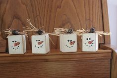 Four Country Wood Snowman Ornaments by SimpleMom1924 on Etsy